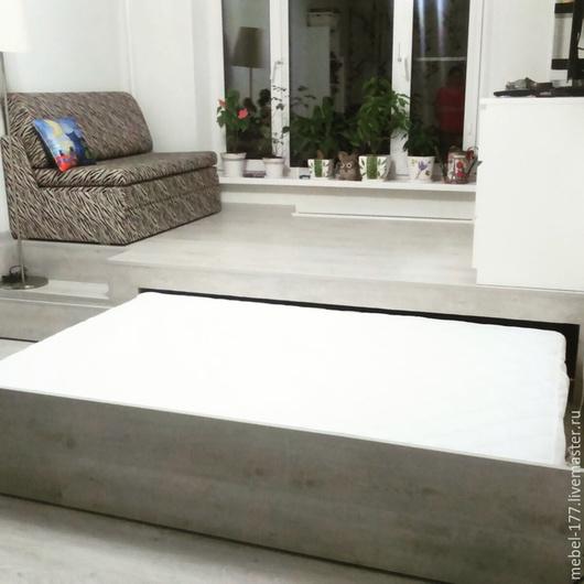 Мебель ручной работы. Ярмарка Мастеров - ручная работа. Купить Кровать подиум. Handmade. Серый, кровать на заказ, кровать подиум
