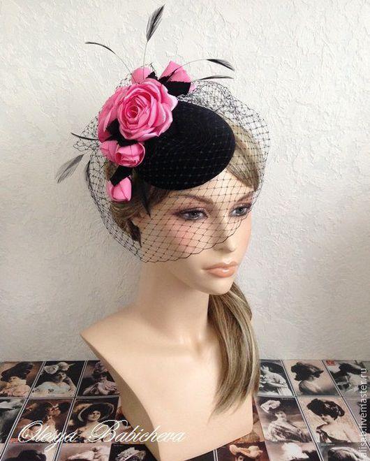 """Шляпы ручной работы. Ярмарка Мастеров - ручная работа. Купить Вечерняя шляпка """"Розы на бархате"""". Handmade. Розовый, вечерняя шляпка"""