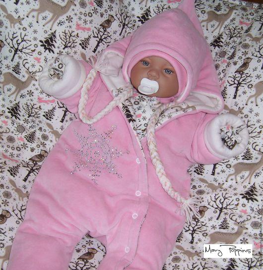 """Для новорожденных, ручной работы. Ярмарка Мастеров - ручная работа. Купить Комплект на выписку """"Лапландия"""" для девочки. Handmade. Бледно-розовый"""
