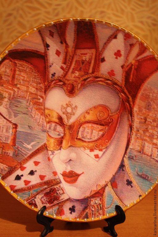 """Тарелки ручной работы. Ярмарка Мастеров - ручная работа. Купить Декоративная тарелка """"Маска"""". Handmade. Ярко-красный, Тарелка декоративная"""