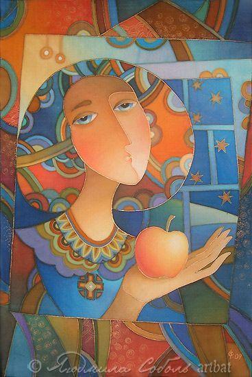 """Фантазийные сюжеты ручной работы. Ярмарка Мастеров - ручная работа. Купить Батик """"Девушка с яблоком"""". Handmade. Батик, панно, batik"""