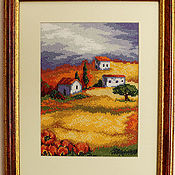 """Картины и панно ручной работы. Ярмарка Мастеров - ручная работа вышитая картина """"Под небом Прованса"""". Handmade."""