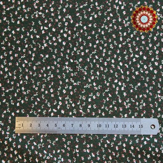 Ткань хлопок `Ромашковый луг зелёный`. Код товара: JL-00006