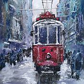 Pictures handmade. Livemaster - original item Painting pastel Snowstorm (red gray-purple tram). Handmade.