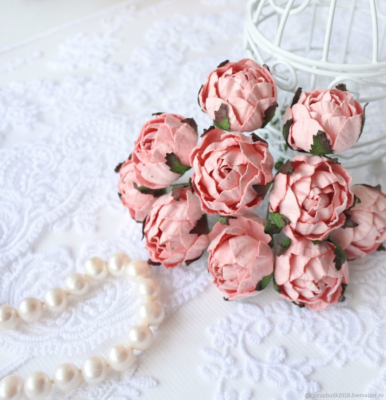 Бумажные цветы Ранункулюсы Розово-персиковые Декор для скрапбукинга, Цветы, Астрахань,  Фото №1