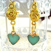 handmade. Livemaster - original item Heart earrings gilded with agate and bright roses. Handmade.