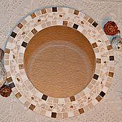"""Для дома и интерьера ручной работы. Ярмарка Мастеров - ручная работа Зеркало для ванной с мозаикой """"Песочный цвет"""". Handmade."""