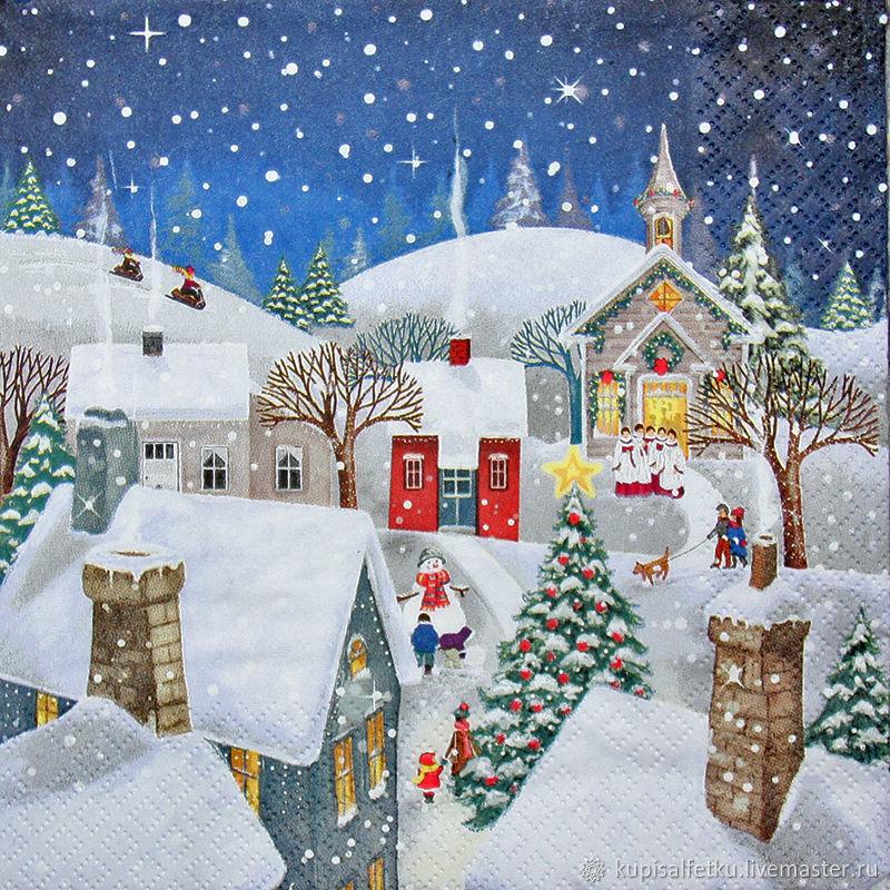 новогодний домик картинка декупаж болгарии