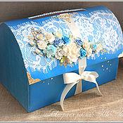 Свадебный салон ручной работы. Ярмарка Мастеров - ручная работа Сундучок для денег Ярко-голубой. Handmade.
