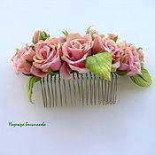 Украшения ручной работы. Ярмарка Мастеров - ручная работа Цветы из ткани, шелка. Гребень с розами из шелка. Handmade.