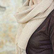 Аксессуары ручной работы. Ярмарка Мастеров - ручная работа Домотканый шарф-палантин beige. Handmade.