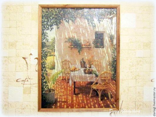"""Пейзаж ручной работы. Ярмарка Мастеров - ручная работа. Купить Декупаж на холсте """"Солнечный уголок"""". Handmade. Бежевый, картина, пейзаж"""