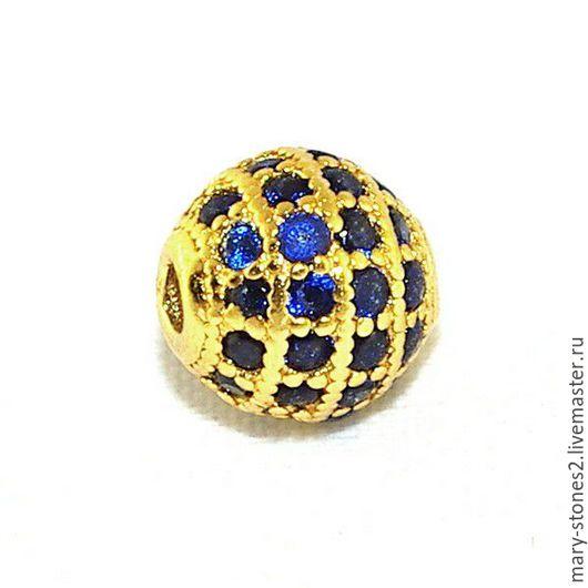 Для украшений ручной работы. Ярмарка Мастеров - ручная работа. Купить Бусина шар 8мм с синими фианитами, желтое золото (Milano). Handmade.