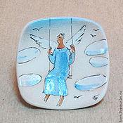 """Подарки к праздникам ручной работы. Ярмарка Мастеров - ручная работа """"Ангел на качелях"""", декоративная тарелка. Handmade."""