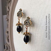 Украшения handmade. Livemaster - original item Small earrings with black agate.). Handmade.