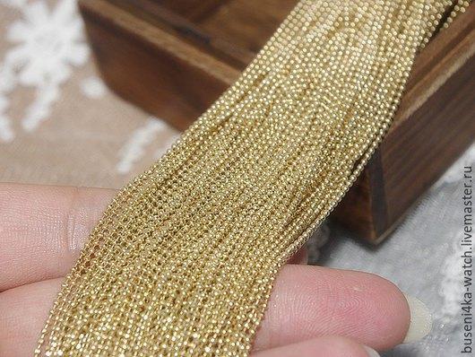 Для украшений ручной работы. Ярмарка Мастеров - ручная работа. Купить Цепочка Шарики 1мм (латунь), 1 метр + 4 концевика. Handmade.