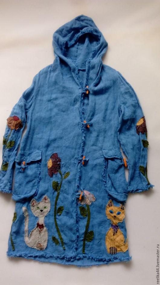 """Верхняя одежда ручной работы. Ярмарка Мастеров - ручная работа. Купить Плащ изо льна """" Цветы и коты"""". Handmade."""