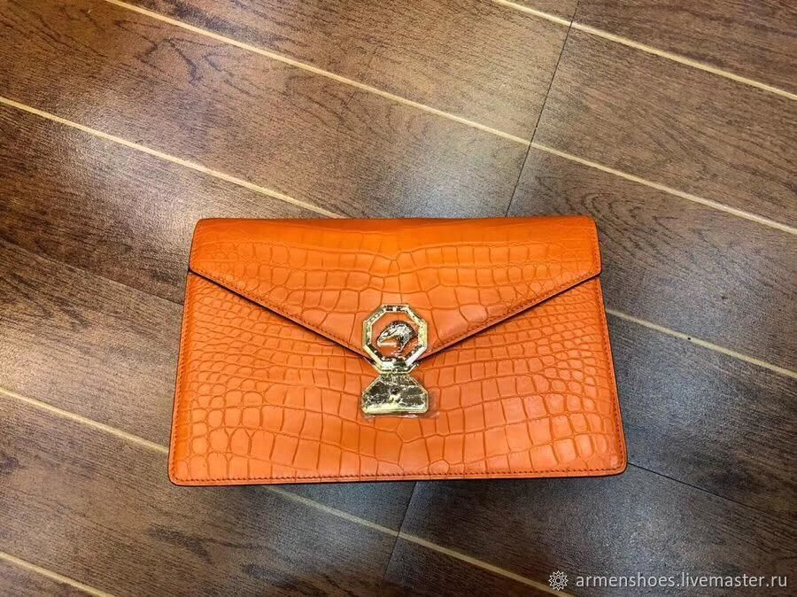 Clutch from the abdomen of the crocodile, exclusive orange color!, Clutches, Tosno,  Фото №1