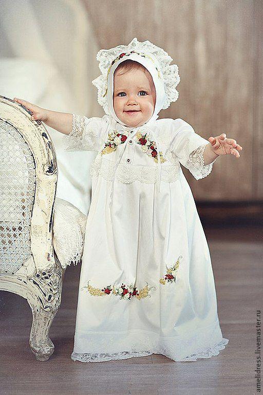 Крестильные принадлежности ручной работы. Ярмарка Мастеров - ручная работа. Купить крестильное платье. Handmade. Белый, крестильное платье, атлас