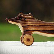 Куклы и игрушки ручной работы. Ярмарка Мастеров - ручная работа Лиса деревянная на колёсиках. Handmade.