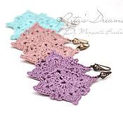 Украшения handmade. Livemaster - original item Openwork earrings made of linen, woven linen blue pink lilac, linen. Handmade.