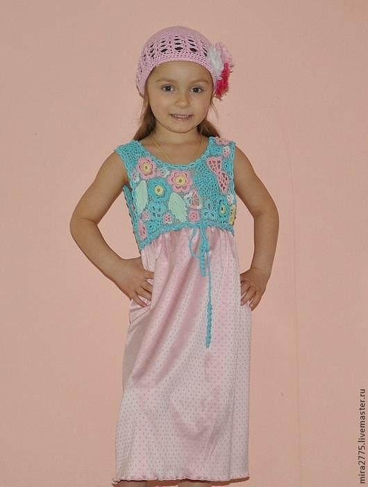 """Одежда для девочек, ручной работы. Ярмарка Мастеров - ручная работа. Купить Детское платье """"Зефир"""". Handmade. Цветочный, крючком"""