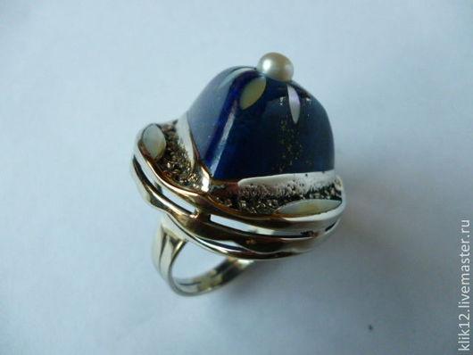 """Кольца ручной работы. Ярмарка Мастеров - ручная работа. Купить кольцо """"Синий цветок"""" авторская работа художника. Handmade."""