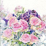Картины и панно ручной работы. Ярмарка Мастеров - ручная работа Букет из роз и гортензий. Handmade.