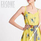 Одежда handmade. Livemaster - original item dresses: Yellow dress with full skirt Yellow MIDI dress. Handmade.