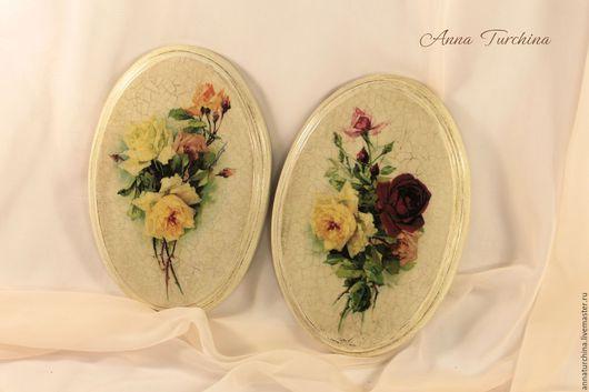 """Картины цветов ручной работы. Ярмарка Мастеров - ручная работа. Купить """"С ароматом роз"""" пара панно. Handmade. Бежевый"""
