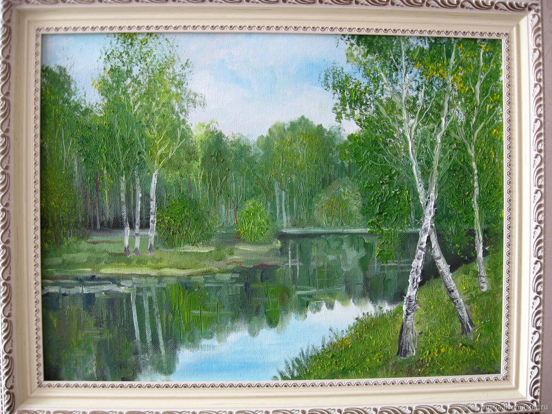 """Картина маслом """"Лесное озеро"""", Картины, Москва,  Фото №1"""