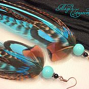 Украшения handmade. Livemaster - original item Blue cock and pheasant feather earrings. Handmade.
