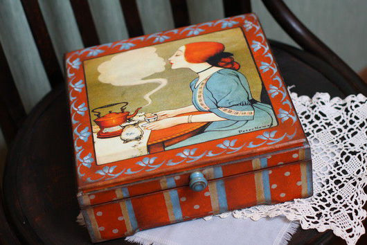 """Кухня ручной работы. Ярмарка Мастеров - ручная работа. Купить Шкатулка для чайных пакетиков """" Чай вдвоем..."""". Handmade."""