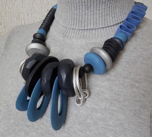 """Колье, бусы ручной работы. Ярмарка Мастеров - ручная работа. Купить Колье """"Jeans style"""". Handmade. Тёмно-синий"""