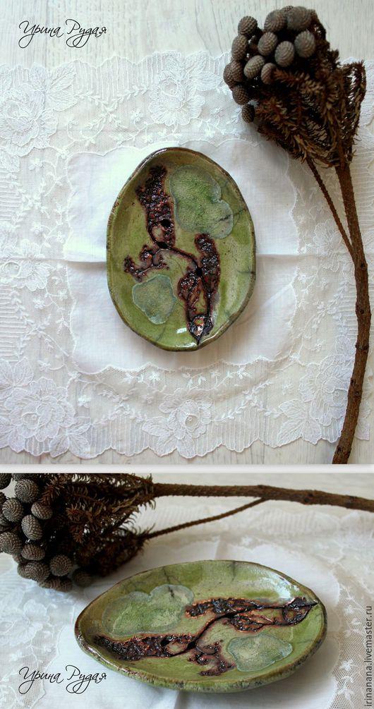 Ванная комната ручной работы. Ярмарка Мастеров - ручная работа. Купить Большие керамические мыльницы в оливковых тонах. Handmade. Зеленый
