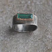 Украшения handmade. Livemaster - original item Emerald ring, 17,5 size, silver and gold. Handmade.
