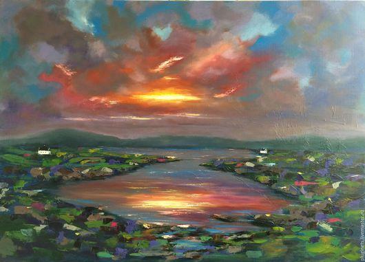Пейзаж ручной работы. Ярмарка Мастеров - ручная работа. Купить Небесные вариации N5. Handmade. Комбинированный, небо, облака, горы