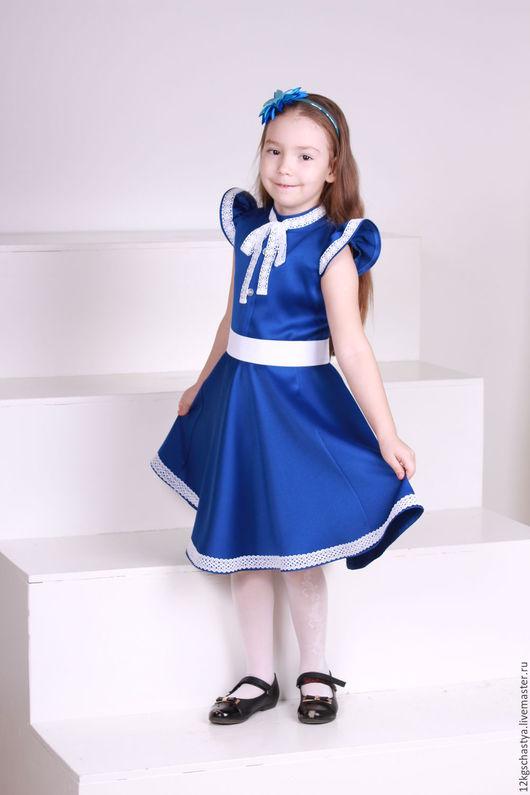 """Одежда для девочек, ручной работы. Ярмарка Мастеров - ручная работа. Купить Платье для девочки """"Василек"""". Handmade. Тёмно-синий"""
