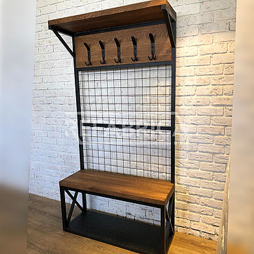 Мебель ручной работы. Ярмарка Мастеров - ручная работа Прихожая вешалка лофт из дуба. Handmade.