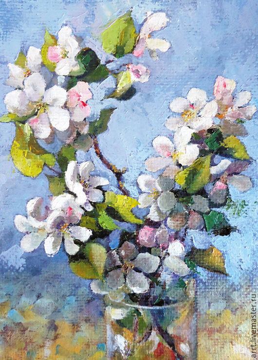 Картины цветов ручной работы. Ярмарка Мастеров - ручная работа. Купить Картина маслом Цветущая ветка яблони Холст 24на18. Handmade.