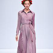 Одежда ручной работы. Ярмарка Мастеров - ручная работа Шелковое платье миди плиссе. Handmade.