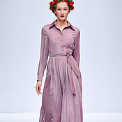 Одежда handmade. Livemaster - original item Silk MIDI dress with pleated. Handmade.