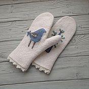 Аксессуары handmade. Livemaster - original item Mittens felted blue bird mitten of wool. Handmade.