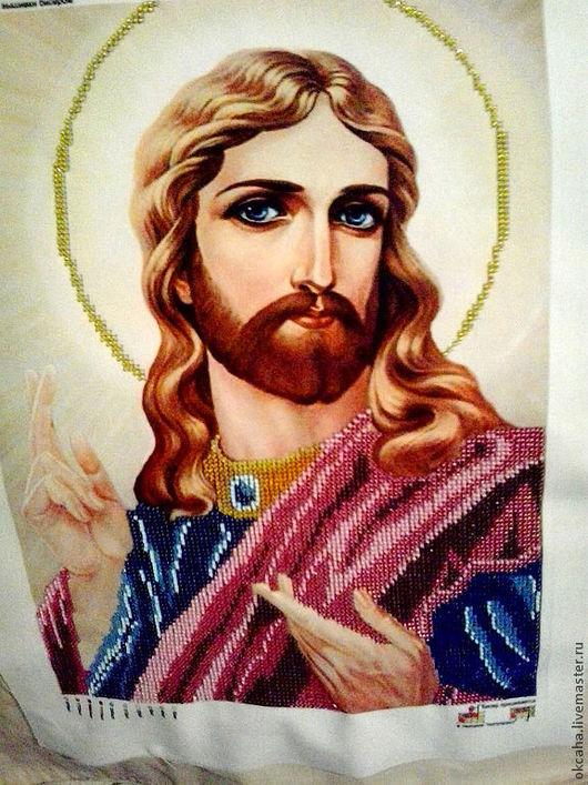 """Икона """"Благословение Исуса""""  Икона ручной работы, вышита чешским бисером. 10 цветов"""