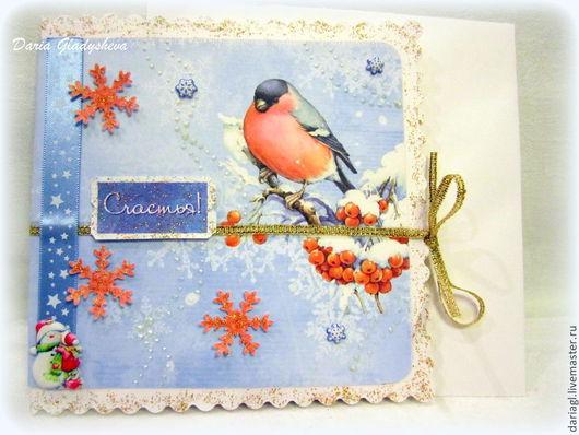 """Открытки к Новому году ручной работы. Ярмарка Мастеров - ручная работа. Купить Открытка """"Снегирь"""". Handmade. Голубой, открытка для мужчины"""