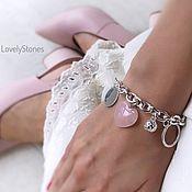 handmade. Livemaster - original item Pink Heart bracelet on a chain with pendants rose quartz beautiful. Handmade.
