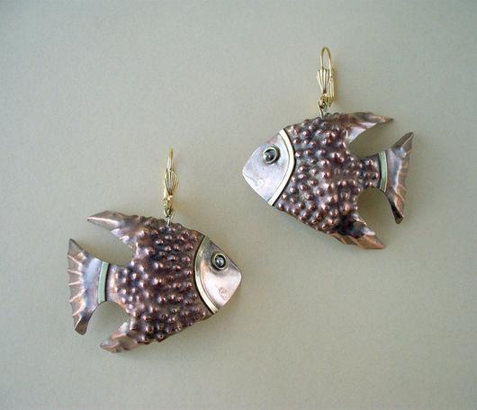 """Серьги ручной работы. Ярмарка Мастеров - ручная работа. Купить Серьги """"Рыбки"""".. Handmade. Медь, медный цвет, рыба, медь"""