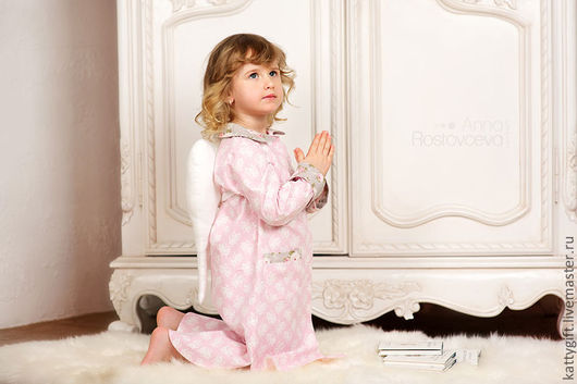 Одежда для девочек, ручной работы. Ярмарка Мастеров - ручная работа. Купить Рубашка домашняя из коллекции CHRISTMAS ANGEL. Handmade.