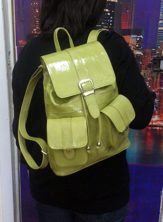 Рюкзаки ручной работы. Ярмарка Мастеров - ручная работа. Купить Рюкзак кожаный женский 79. Handmade. Салатовый, рюкзак для девушки
