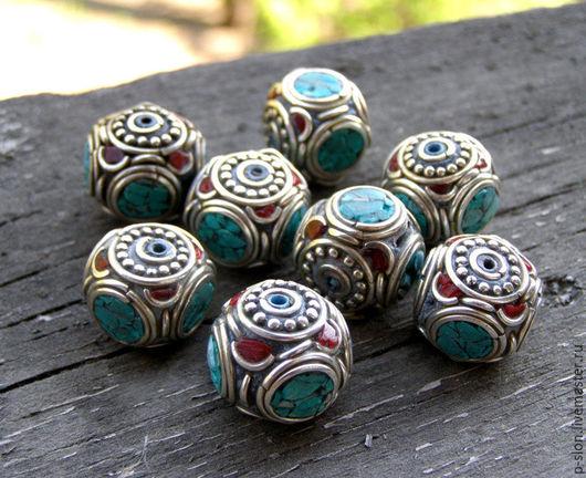 Для украшений ручной работы. Ярмарка Мастеров - ручная работа. Купить Тибетские бусины с бирюзой и кораллом, БН7. Handmade.